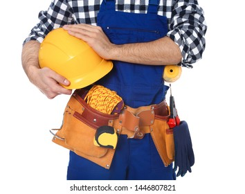 Construction worker with tool belt on white background, closeup