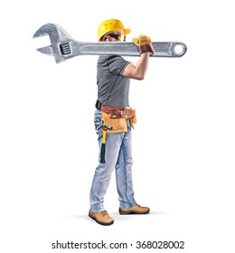 construction worker with tool belt and wrench on white background
