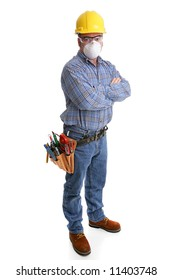 Construction worker with tools and safety gear, including hardhat, goggles and dust mask.  All equipment depicted is accurate in accordance with industry safety standards.
