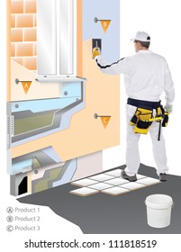 Construction worker with trowel applied plaster on virtual wall that you can see all layers and components - insulation, dowels, fiberglass mesh, waterproofing, glue and more.