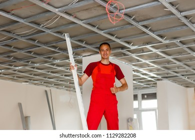 Construction worker wear safety uniform installation ceiling work