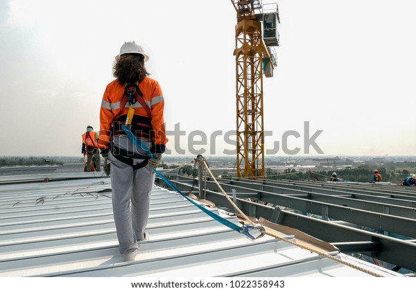 Construction Worker Wearing Safety Harness Safety Stock