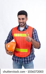 Construction worker wearing safety vest isolated on white,Arabian engineer smile