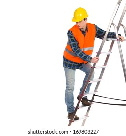 Construction worker in yellow helmet and orange reflective waistcoat climbing a ladder. Full length studio shot isolated on white.