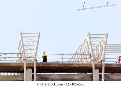 construction workers in building roof  for maintenance,restore and repair