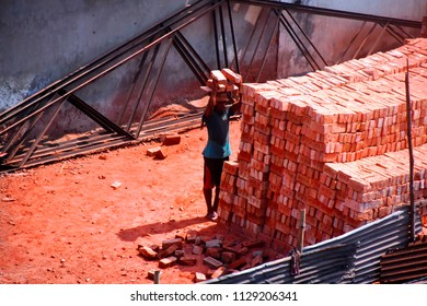 construction workers are doing their job in the brick field,8july2018,dhaka,Bangladesh