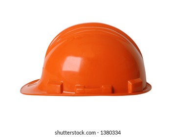 Construction workers hard hat isolated on white with clipping path