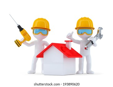 Construction Workers with home. Isolated. contains clipping path