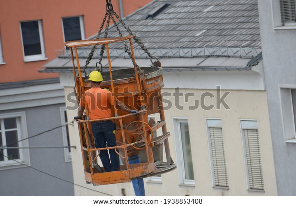 Construction workers on a construction site in Austria, Europe