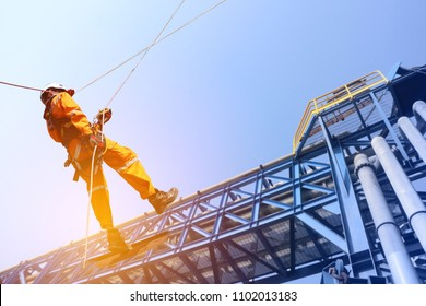 construction workers operator wearing safety harness belt and ppe during training at high place