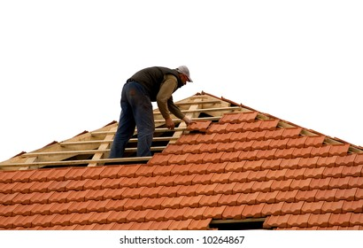 construction workers repairing roof