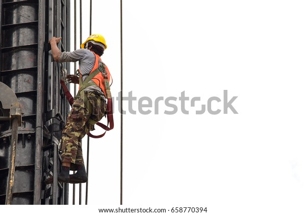 Construction Workers Wearing Safety Harness Adequate Stock