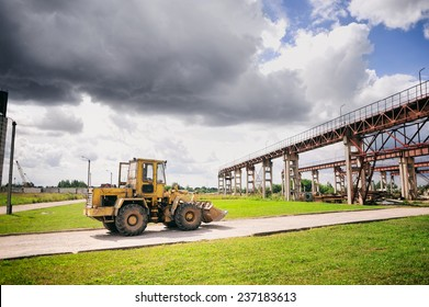Construction works, construction machinery, bulldozer, excavation, factory