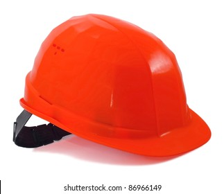 Construction yellow helmet on white background