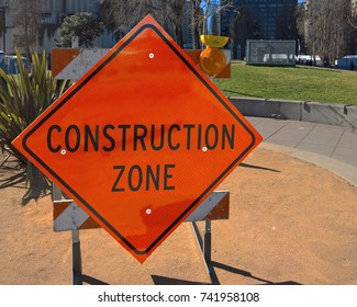Construction Zone sign outdoors in San Francisco, CA