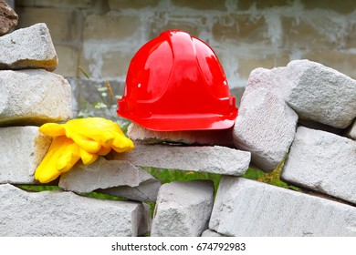 Construction.Masonry.The helmet and gloves.
