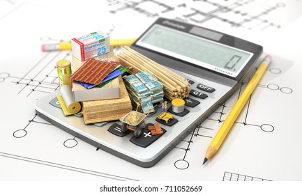 Constructions materials on calculator. Concept of calculation of costs of construction. 3d illustration