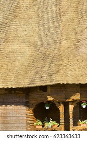 constructive details of a wooden church from Mizil,  Romania