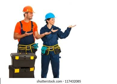 Constructors workers making presentation to copy space  isolated on white background