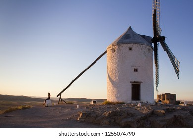 Consuegra, La Mancha, Spain - September 2013: Following the Don Quixote route passing the decor from the book The Adventures of Don Quixote de la Mancha by Cervantes.