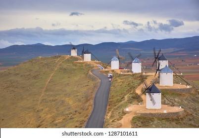 CONSUEGRA, SPAIN - NOVEMBER 22, 2018: Windmills of the route of Don Quixote, Castilla La Mancha, Spain.