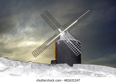 Consuegra, Toledo, surrealistic composition of windmills, places to grind grain that Don Quijote de la Mancha mistook for giants in the novel of the same name written by Cervantes,3D illustration,