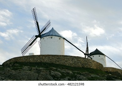 Consuegra, Toledo, windmills, places to grind grain that Don Quixote mistook for giants in the novel of the same name written by Cervantes,
