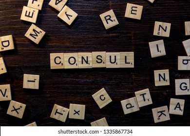 Consul word made with scrabble letters.