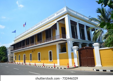 Consulat général de France à Pondicherry is a French Consulate building in Pondicherry/ Puducherry in Tamil Nadu, India. The image was captured on 2nd October, 2017.