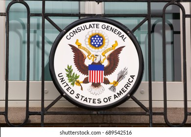 Consulate General of the United States sign.Plaque of the Consulate General of the United States.