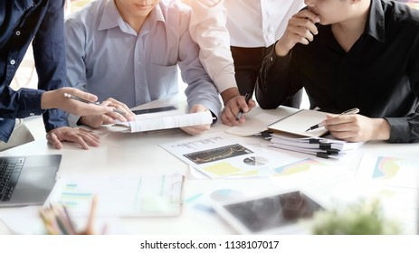 Consult business group businessman planning and consulting on office table.