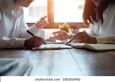 Consult business people meeting and planning finance data on wooden table and morning light.