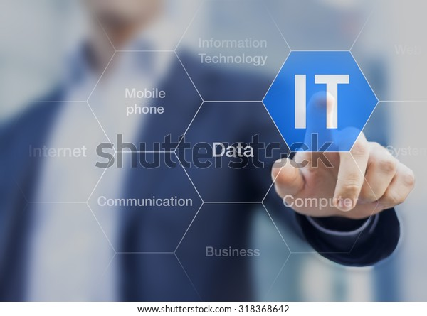 IT consultant presenting tag cloud about information technology