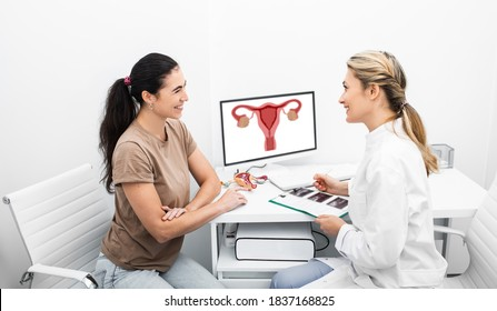 Consultation of a gynecologist, doctor and woman patient is talking in a gynecological office. Female ovarian ultrasound results