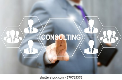Consulting business social network people concept. Man touched consulting services icon on virtual screen. Job consult strategy, governance, knowledge, search talents, human resources technology