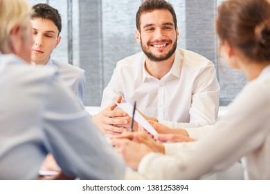 Consulting man in a meeting for business negotiation