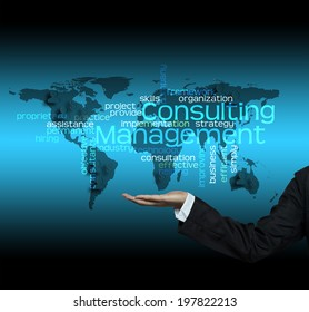 Consulting Management concept - hand hold Business Trends info