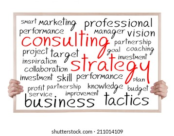 consulting strategy and other related words handwritten on whiteboard with hands