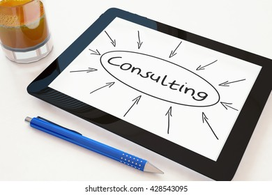 Consulting - text concept on a mobile tablet computer on a desk - 3d render illustration.
