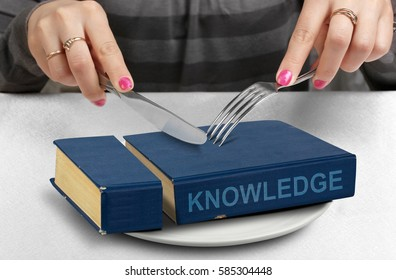 consume knowledge concept, cut book on plate