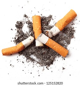 consumed cigarettes in white background