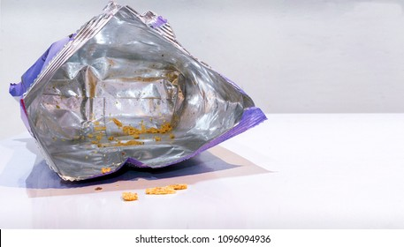 Consumed and Emptied Bag of Potato Chips