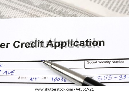 consumer credit application document filled blue stock photo edit