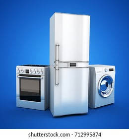 Consumer electronics stell.Fridge,washer and electric-cooker on blue background. 3d illustration
