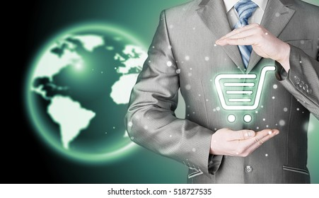 Consumer protection concept. Safety and insurance of trade and goods. Online marketing. Globe background. Worldwide protection.