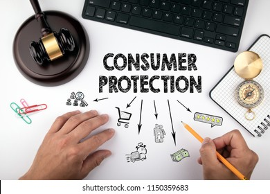 consumer protection, Law and justice concept. Chart with icons. Judge hummer and compass on the desk for setting order right direction