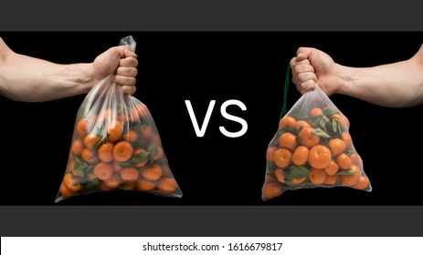 Consumers battle for zero waste. Plastic bag vs mesh pouch. Net bag of tangerines in a strong hand against environmental pollution with plastic. The concept of the environment