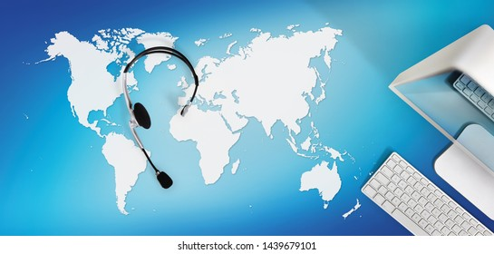 contact concept , top view desk with headset and computer isolated on blue background with global map, international booking concept