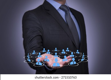 Contact and connection on Businessman Hand