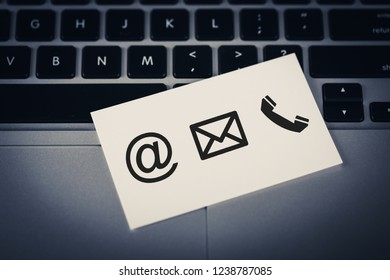 Contact Methods. Close-up of a phone, email and post icons card.